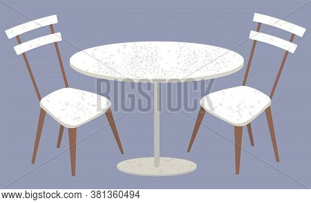 Table With Chairs Vector, Isolated Plastic Or Wooden Furniture For Home Or Shops. Diner Or Eatery De