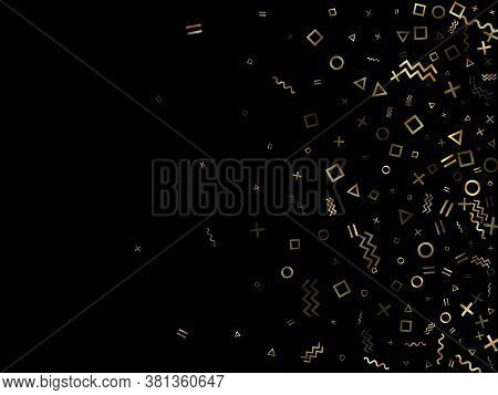 Gold Geometric Confetti Vector Memphis Style Background With Triangle, Circle, Square Shapes, Chevro