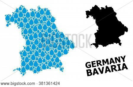 Vector Mosaic And Solid Map Of Bavaria State. Map Of Bavaria State Vector Mosaic For Pure Water Ads.