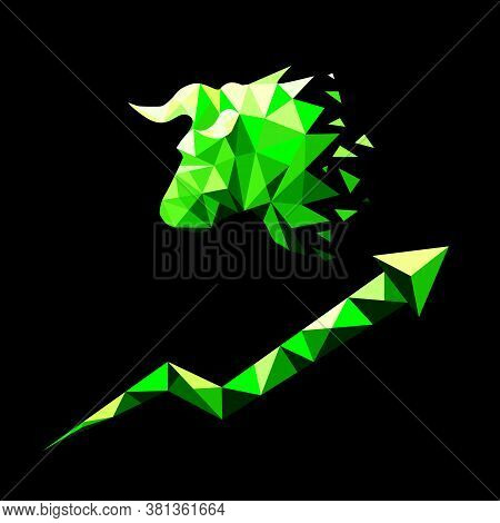 Silhouette Of Bulls Head And Growing Graf In Low Poly Style. Bullish Market Trend Concept. Isolated