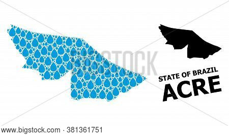 Vector Mosaic And Solid Map Of Acre State. Map Of Acre State Vector Mosaic For Clean Water Ads. Map