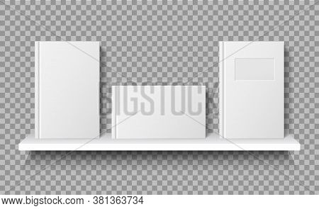 Book On Shelf Mockup. White Blank Notebook On Bookshelf For Store. Vector Template Books Paperback F