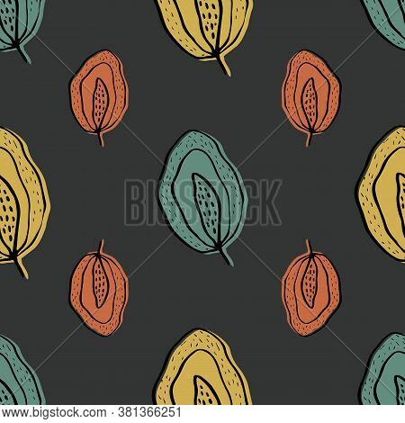 Inky Wild Meadow Leaves Seamless Vector Pattern Background. Dark Backdrop With Hand Drawn Line Art G