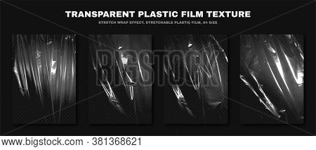 Transparent Plastic Film Texture, Stretchable Polyethylene Film, A4 Size. Plastic Stretch Film Effec