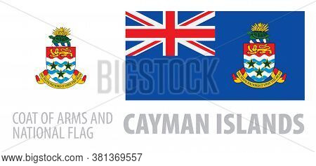 Vector Set Of The Coat Of Arms And National Flag Of Cayman Islands