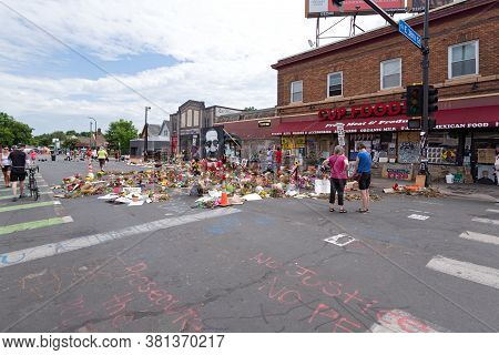 Mpls, Mn/usa - June 21, 2020: Visitors At Memorial Site For George Floyd Whose Arrest And Death Igni