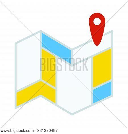Navigation Map Icon. Flat Color Design. Vector Illustration.