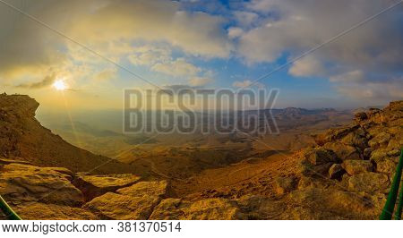 Panoramic Sunrise View Of Cliffs And Landscape In Makhtesh (crater) Ramon, The Negev Desert, Souther