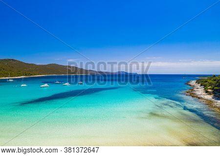 Amazing Adriatic Coastline In Croatia. Azure Turquoise Lagoon On Sakarun Beach On Dugi Otok Island,