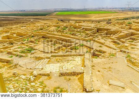 View Of Tel Beer Sheva Archaeological Site, Believed To Be The Remains Of The Biblical Town Of Beers