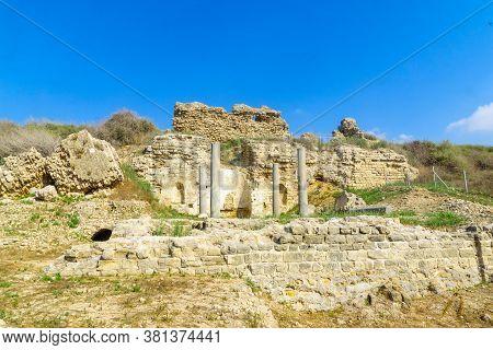 Remains Of The Byzantine Church Of Santa Maria Viridis In Ashkelon National Park, Southern Israel