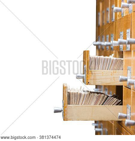 Library Or Archive Reference Card Catalog. Database, Knowledge Base Concept. Old Library Or Archive