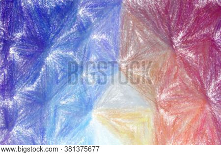Abstract Illustration Of Blue, Yellow And Purple Wax Crayon With Low Coverage Background.