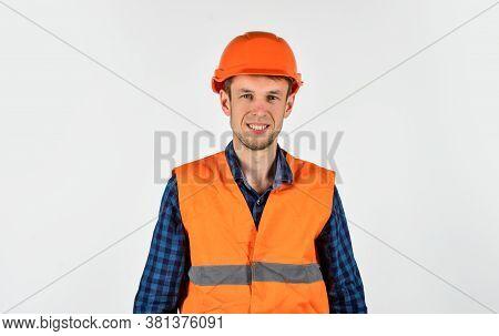 Man Wear Protective Hard Hat Repair Works, Cheap Renovation Ideas Concept