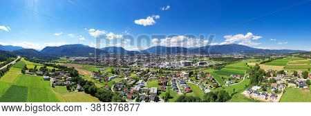 Villach In Carinthia. Aerial Panoramic View To The Small Famous Town In The South Of Austria During