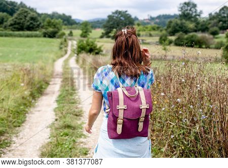 Beautiful Woman Walking In Nature. Happy People Lifestyle. Woman Walking In Meadow In Countryside. N