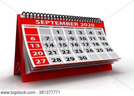 September 2020 Calendar Isolated On White Background. Spiral Calendar September 2020. 3d Illustratio