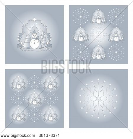 Set Of Patterns Christmas Theme. Snowman, Fir Forest, Falling Snow, Star And Snowflake. White And Bl
