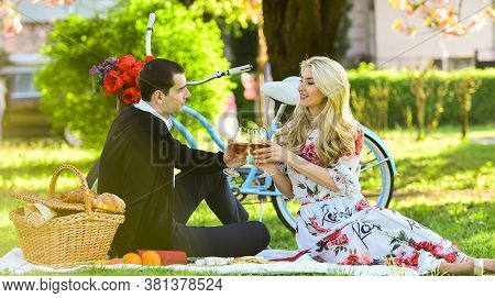 Sincere Emotions. Happy Couple In Love. Woman And Man Lying In Park And Enjoying Day Together. Valen