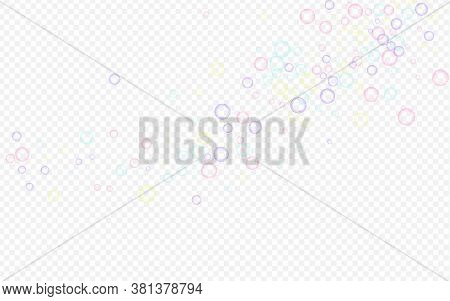 Blue Soapy Abstract Transparent Background. Isolated Soapy Ball Texture. Colored Air Soap Bubble Ban