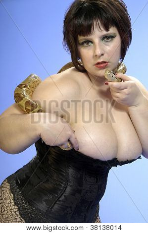 Busty model with a boa