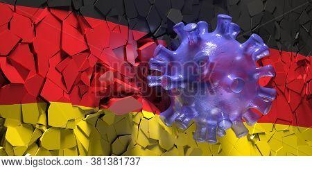 Coronavirus Covid 19 Breaking German Flag Wall. 3D Illustration