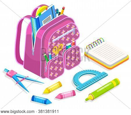 Rucksack With Textbooks And Notebooks Vector, Isolated Satchel With Pencil And Pen. Back To School C