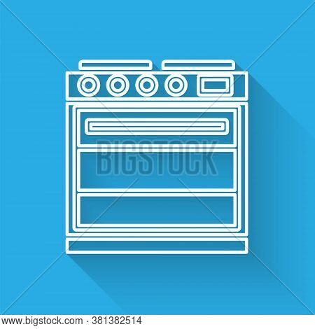 White Line Oven Icon Isolated With Long Shadow. Stove Gas Oven Sign. Vector Illustration