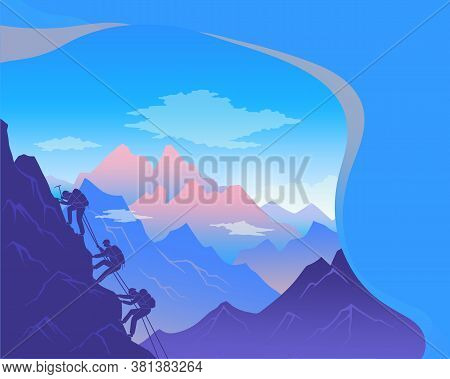 Climbing On Mountain. Silhouette Traveling People. Vector Illustration Hiking And Climbing Team. Squ