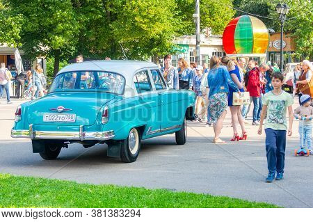 Exhibition Of Vintage Cars And Motorcycles In Sokolniki Park . Flagship Of The Soviet Automotive Ind