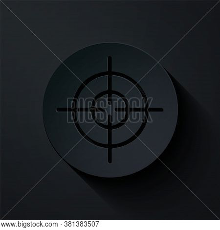 Paper Cut Target Sport Icon Isolated On Black Background. Clean Target With Numbers For Shooting Ran