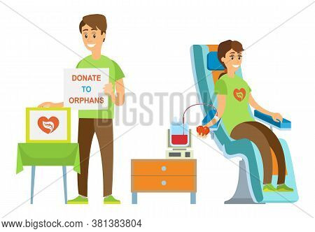 Woman Transfusing Blood, Man Volunteer Donating To Orphans, Portrait View Of People Caring, Healthca