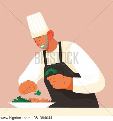Chief-cooker Elderly Man At Work. Cartoon Enthusiastic Chief Cooking In Restaurant Professional Kitc