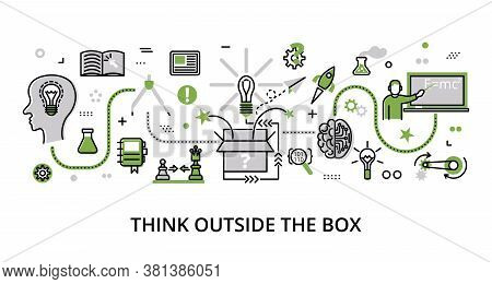 Infographic Greenery Think Outside The Box Concept, Modern Flat Thin Line Design Vector Illustration