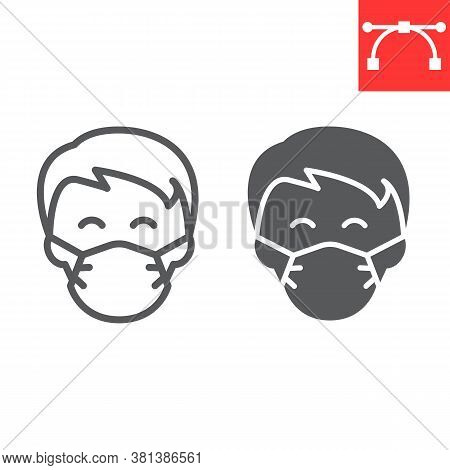 Man In Face Mask Line And Glyph Icon, Coronavirus And Covid-19, Wearing Mask Sign Vector Graphics, E