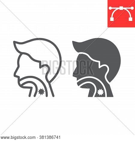 Sore Throat Line And Glyph Icon, Pain And Covid-19, Sickness Sign Vector Graphics, Editable Stroke L