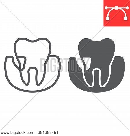 Periodontitis Line And Glyph Icon, Dental And Stomatolgy, Periodontal Tooth Sign Vector Graphics, Ed