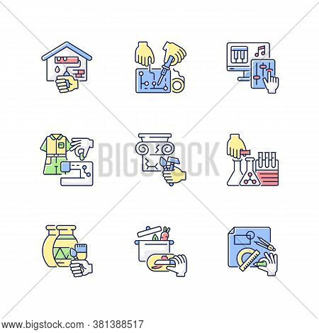 Handicraft Rgb Color Icons Set. Home Renovation. Electrical Project. Music Production. Fashion Indus