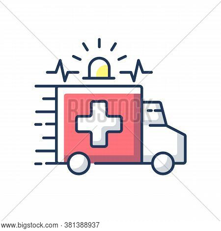Emergency Rgb Color Icon. Ambulance. Emergency Response. Accident Department. Urgent Medical Care Ce
