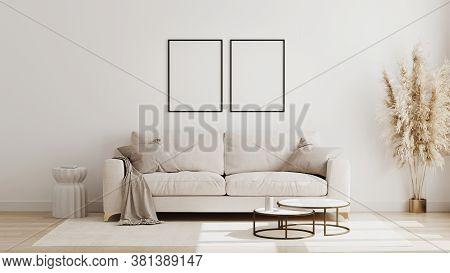 Blank Poster Frame Mock Up In  Scandinavian Style Living Room Interior, Modern Living Room Interior