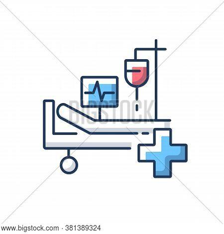 Intensive Care Rgb Color Icon. Critical Care Medicine. Icu. Hospital Ward. Intensive Treatment And C