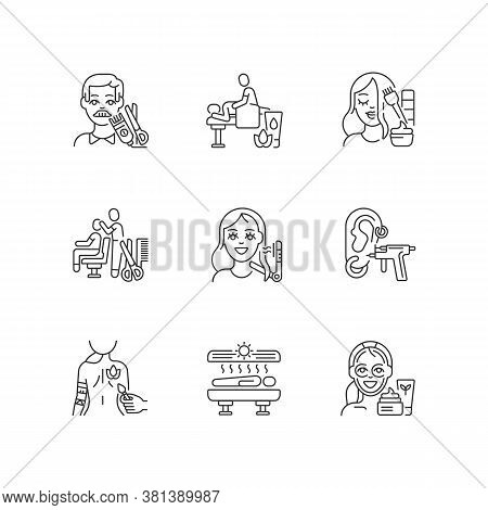 Beauty Shop Linear Icons Set. Body Art. Women And Men Hair Styling. Solarium Machine. Traditional Ma