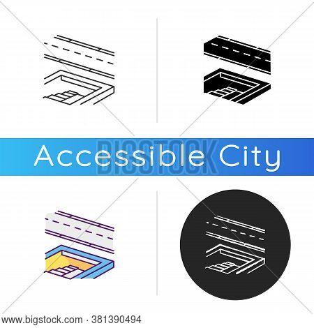 Underground Pedestrian Walkway Icon. Safe Pedestrian Crosswalk. Underground Tunnels. Modern City Inf