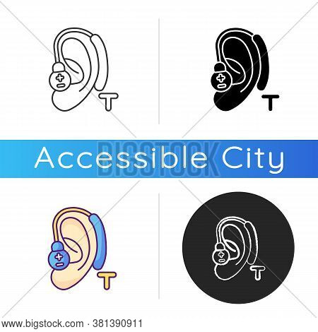 Hearing Loop Icon. Assistive Listening Technology. Audio Induction Loop System. Hearing Aids. Clear