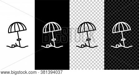 Set Line Sun Protective Umbrella For Beach Icon Isolated On Black And White Background. Large Paraso