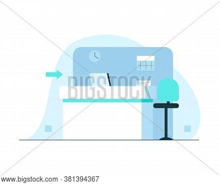 Hospital Reception Concept Illustration. Vector Illustration Of A Reception Hall Modern Minimalistic