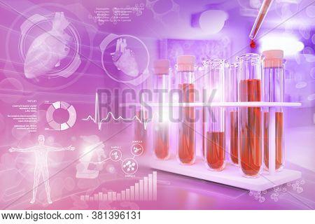 Medical 3d Illustration, Test-tubes Vials In University Facility - Blood Sample Gene Test For Blood