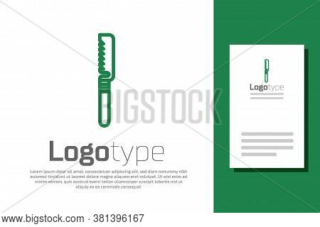 Green Line Medical Saw Icon Isolated On White Background. Surgical Saw Designed For Bone Cutting Lim