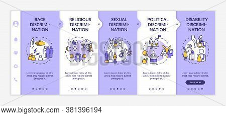 Discrimination Types Onboarding Vector Template. Racial And Religious Prejudice. Civil Rights. Respo