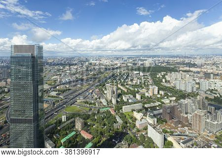 Moscow, Russia – July 23, 2020: Aerial View Of Center Of Moscow From Observation Deck  Federation To